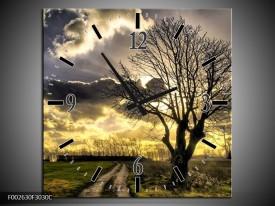 Wandklok op Canvas Natuur | Kleur: Grijs, Geel, Zwart | F002630C