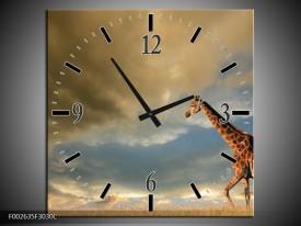 Wandklok op Canvas Giraffe | Kleur: Bruin, Grijs, Blauw | F002635C
