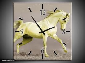 Wandklok op Canvas Paard | Kleur: Groen, Grijs | F002665C