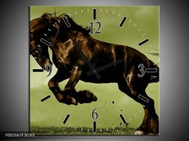 Wandklok op Canvas Paard | Kleur: Bruin, Groen, Zwart | F002667C