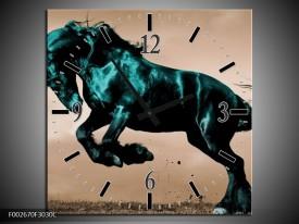 Wandklok op Canvas Paard | Kleur: Bruin, Blauw, Zwart | F002670C