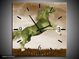 Wandklok op Canvas Paard | Kleur: Groen, Bruin | F002672C
