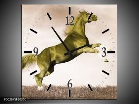 Wandklok op Canvas Paard | Kleur: Sepia, Groen, Goud | F002675C