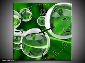 Wandklok op Canvas Cirkel | Kleur: Groen, Wit | F002858C