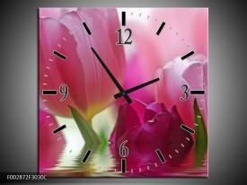Wandklok op Canvas Tulpen | Kleur: Roze, Wit, Groen | F002872C