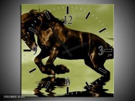 Wandklok op Canvas Paard | Kleur: Groen, Bruin, Zwart | F002880C