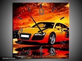 Wandklok op Canvas Audi | Kleur: Oranje, Zwart, Geel | F002891C