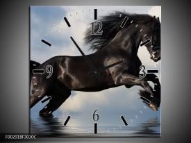 Wandklok op Canvas Paard | Kleur: Zwart, Blauw, Wit | F002918C