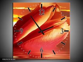 Wandklok op Canvas Tulpen | Kleur: Rood, Oranje, Geel | F002921C