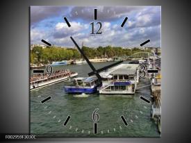 Wandklok op Canvas Boot | Kleur: Blauw, Groen, Grijs | F002959C