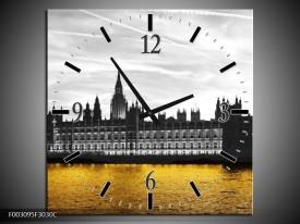 Wandklok op Canvas Londen | Kleur: Bruin, Zwart, Geel | F003095C