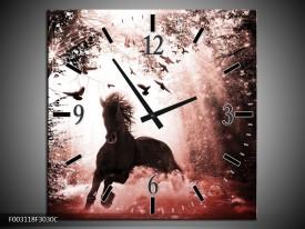 Wandklok op Canvas Paard | Kleur: Rood, Zwart, Wit | F003118C