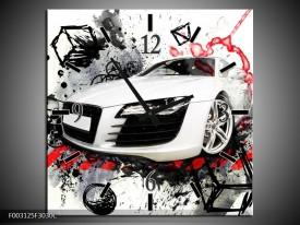 Wandklok op Canvas Audi   Kleur: Rood, Zwart, Wit   F003125C
