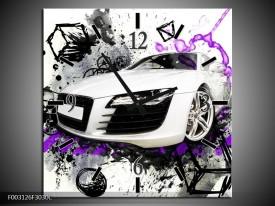 Wandklok op Canvas Audi | Kleur: Paars, Zwart, Wit | F003126C