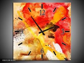 Wandklok op Canvas Abstract | Kleur: Rood, Geel, Wit | F003128C