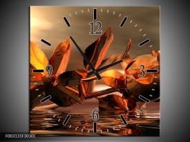 Wandklok op Canvas Roos | Kleur: Rood, Goud, Geel | F003131C