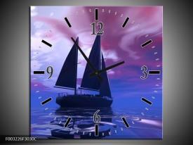 Wandklok op Canvas Zeilboot   Kleur: Blauw, Paars, Zwart   F003226C