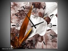 Wandklok op Canvas Bloem   Kleur: Bruin, Wit, Grijs   F003254C