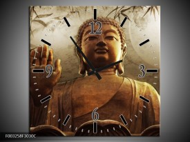 Wandklok op Canvas Boeddha   Kleur: Bruin, Grijs, Wit   F003258C
