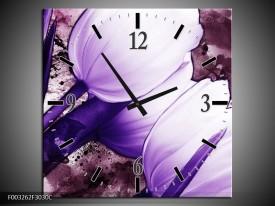 Wandklok op Canvas Tulpen | Kleur: Paars, Wit | F003262C