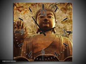 Wandklok op Canvas Boeddha   Kleur: Bruin, Grijs   F003265C