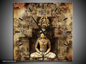 Wandklok op Canvas Boeddha | Kleur: Grijs, Bruin | F003266C