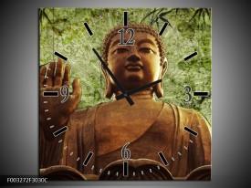 Wandklok op Canvas Boeddha   Kleur: Groen, Bruin   F003272C