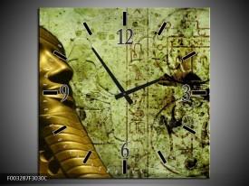 Wandklok op Canvas Egypte | Kleur: Groen, Goud, Grijs | F003287C