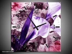 Wandklok op Canvas Bloem | Kleur: Paars, Wit, Roze | F003308C