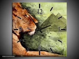 Wandklok op Canvas Leeuw | Kleur: Bruin, Grijs, Groen | F003310C