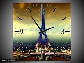 Wandklok op Canvas Eiffeltoren | Kleur: Blauw, Geel, Grijs | F003438C