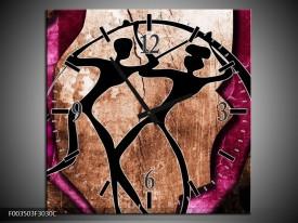 Wandklok op Canvas Abstract | Kleur: Roze, Zwart, Bruin | F003503C