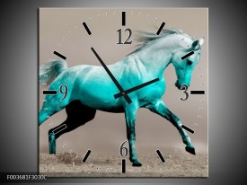 Wandklok op Canvas Paard | Kleur: Blauw, Grijs | F003681C