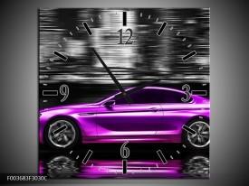 Wandklok op Canvas Auto | Kleur: Paars, Zwart | F003683C