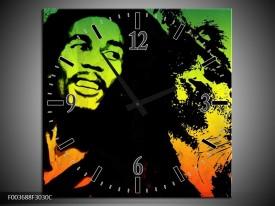 Wandklok op Canvas Man | Kleur: Groen, Zwart, Oranje | F003688C
