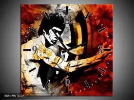 Wandklok op Canvas Sport   Kleur: Rood, Geel, Zwart   F003698C