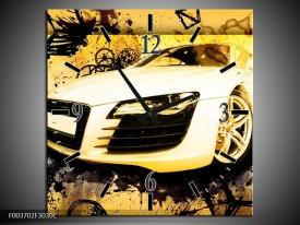Wandklok op Canvas Audi   Kleur: Geel, Zwart, Wit   F003702C