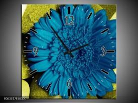 Wandklok op Canvas Bloem | Kleur: Blauw, Zwart, Groen | F003747C