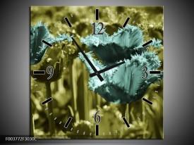 Wandklok op Canvas Tulp   Kleur: Blauw, Zwart, Groen   F003772C