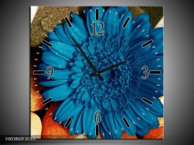 Wandklok op Canvas Bloem | Kleur: Blauw, Oranje, Grijs | F003860C