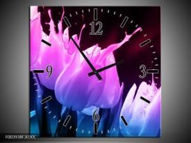 Wandklok op Canvas Tulp | Kleur: Paars, Roze, Blauw | F003938C