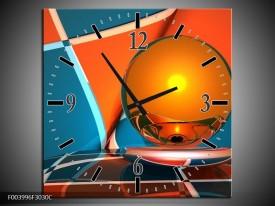 Wandklok op Canvas Abstract   Kleur: Oranje, Blauw, Grijs   F003996C