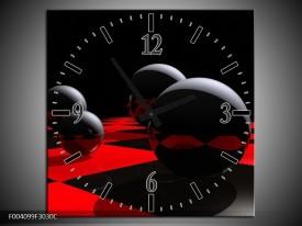 Wandklok op Canvas Cirkel | Kleur: Rood, Zwart, Wit | F004099C
