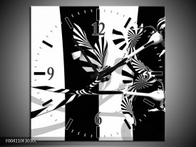 Wandklok op Canvas Abstract | Kleur: Zwart, Wit, Grijs | F004110C