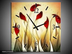 Wandklok op Canvas Tulp | Kleur: Geel, Wit, Rood | F004127C