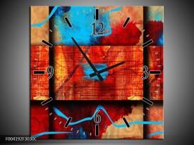 Wandklok op Canvas Abstract   Kleur: Blauw, Oranje, Rood   F004192C