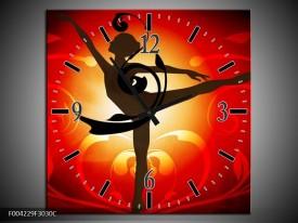 Wandklok op Canvas Dansen   Kleur: Oranje, Rood, Geel   F004229C