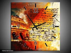 Wandklok op Canvas Rome | Kleur: Rood, Geel, Oranje | F004258C