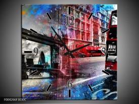 Wandklok op Canvas Modern   Kleur: Rood, Grijs, Blauw   F004266C