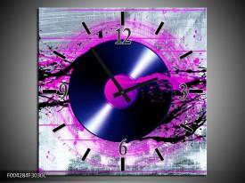 Wandklok op Canvas Muziek | Kleur: Paars, Zwart, Grijs | F004284C